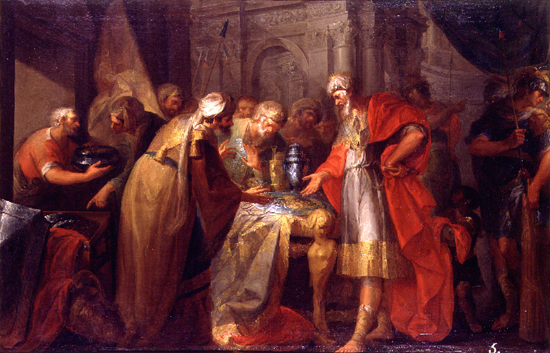 King Hezekiah showing off his wealth to Babylonian envoys in a 1789 oil painting by Spanish artist Vicente López Portaña. (Wikicommons)