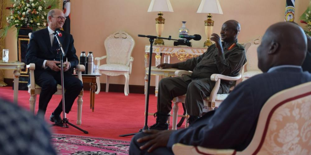Ugandan President Yoweri Museveni meeting with Ted N.C. Wilson, leader of the worldwide Seventh-day Adventist Church, at his official residence in Entebbe on Feb. 16, 2018. (Prince Bahati / ECD)
