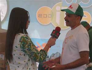 Pastor Josney Rodriguez, president of the church in East Venezuela headquarterd in Caracas, Venezuela, is interviewed on local television station on the more than 250 activities organized by the church in Caracas.