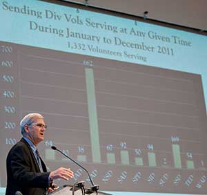 At Annual Council last October, Adventist world church Associate Secretary John Thomas used a chart to highlight the denomination's volunteers. The North American Division continues to send the most. [ANN file photo]