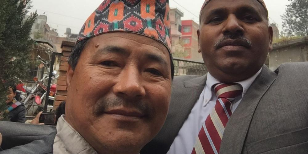 Man Bahadur Rai, left, with the story's author, Wilson Measapogu, in Kathmandu, Nepal, in February 2018. (Photo courtesy of Wilson Measapogu)