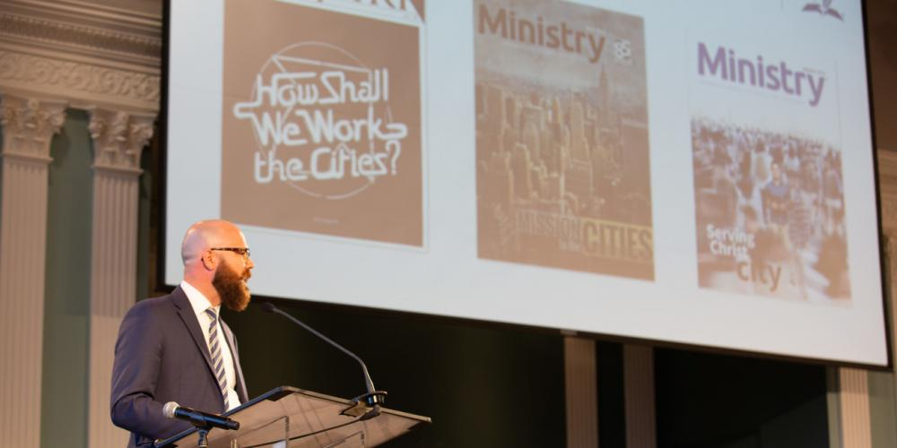 Jarod Thomas, communication manager for the Ministerial Association of Seventh-day Adventist world church, speaking during a Mission to the Cities report at Spring Meeting in Silver Spring, Maryland, on April 10, 2018. (Brent Hardinge / Adventist News Network)