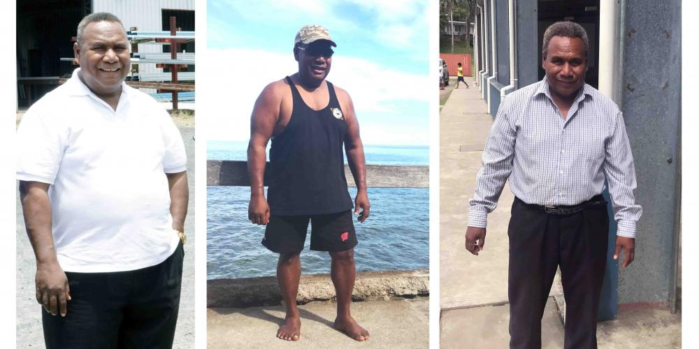 Geoff Samuel went from 290 pounds (131 kilograms), left, to 209 pounds (95 kilograms), center, over the 12 months of 2017. At the right, he is meeting with Adventist Mission in June 2018. (Left two photos: Herik Dun Siope; Right photo: Andrew McChesney / Adventist Mission)