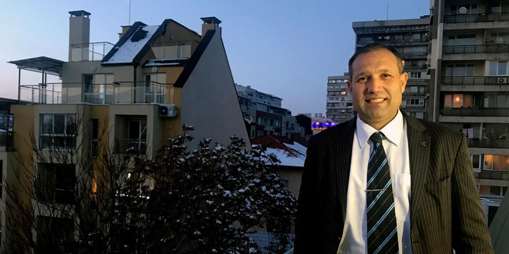 Sergey Dimitrov, 48, posing in Sofia, Bulgaria. As a boy, he became the first Adventist in his village. (Andrew McChesney / Adventist Mission)