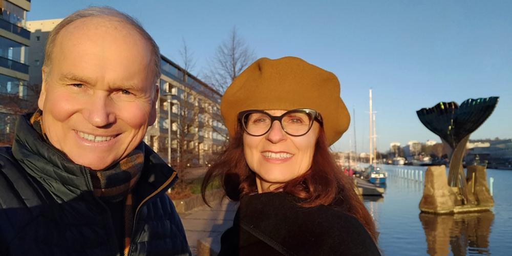 "Former Middle East University president Leif Hongisto, 62, posing with his wife, Patrizia, who served for nine years as dean of business administration at the university in Beruit, Lebanon. ""She has been a tremendous support through my bout with cancer,"" says Leif, reactor of Finland Junior College in Piikkiö, Finland. (For Adventist Mission)"